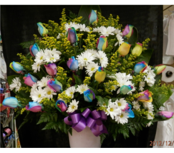 MTF632 Rainbow Roses & White Daisy Fan Style in Mililani Town HI, Mililani Town Florist