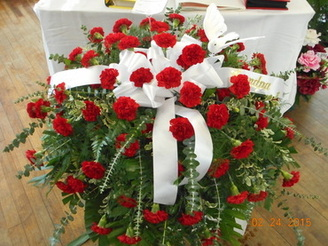 Red Carnation Casket Spray in Middletown OH, Flowers by Nancy
