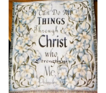 I Can Do All Things throw in Crown Point IN, Debbie's Designs
