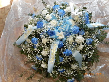 Blue and White Carnation Casket Spray in Middletown OH, Flowers by Nancy