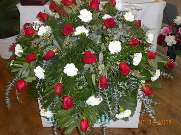 Red Rose & White Carnation Casket Spray in Middletown OH, Flowers by Nancy