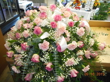 Pink Roses & Pink Carnation Casket Spray in Middletown OH, Flowers by Nancy