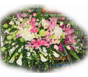 Elegant Grandeur Casket Spray in Lake Charles LA, A Daisy A Day Flowers & Gifts, Inc.