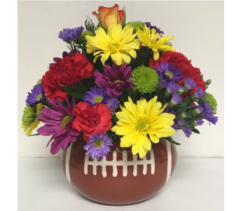 5 inch Football Ceramic w/Fresh Flowers-All Around in Wyoming MI, Wyoming Stuyvesant Floral