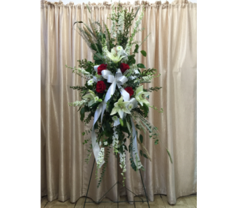 Custom Spray (Red & White) by Main Street Florist in Orange CA, Main Street Florist