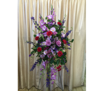 Custom Spray (Purple &Red) by Main Street Florist in Orange CA, Main Street Florist