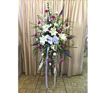Custom Spray (White & Lavender) by Main Street Flo in Orange CA, Main Street Florist