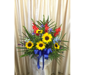 Custom Colorful Sympathy Basket by Main Street Flo in Orange CA, Main Street Florist