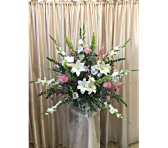 Custom Pink & White Sympathy Basket by Main Street in Orange CA, Main Street Florist
