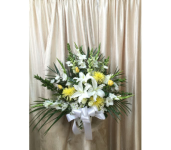 Custom White & Yellow Sympathy Basket by Main Stre in Orange CA, Main Street Florist
