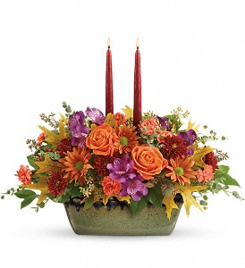 Teleflora's Country Sunrise Centerpiece in Murrells Inlet SC, Callas in the Inlet