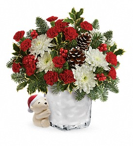 Send a Hug Bear Buddy Bouquet by Teleflora in Hendersonville NC, Forget-Me-Not Florist