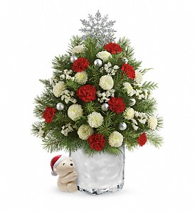 Send a Hug Cuddly Christmas Tree by Teleflora in Herndon VA, Bundle of Roses