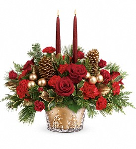 Teleflora's Festive Glow Centerpiece in Newburgh NY, Foti Flowers at Yuess Gardens