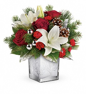 Teleflora's Frosted Forest Bouquet in Redwood City CA, A Bed of Flowers