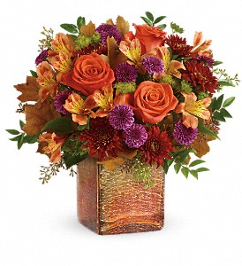 Teleflora's Golden Amber Bouquet in Wichita Falls TX, Autumn Leaves