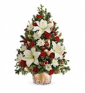 Teleflora's Golden Pines Tree in North Syracuse NY, The Curious Rose Floral Designs