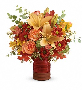 Teleflora's Harvest Crock Bouquet in Macomb IL, The Enchanted Florist