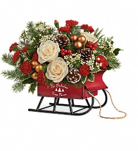 Teleflora's Joyful Sleigh Bouquet in Cocoa FL, A Basket Of Love Florist
