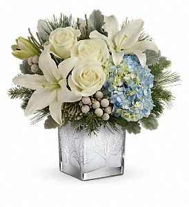 Teleflora's Silver Snow Bouquet in San Jose CA, Rosies & Posies Downtown