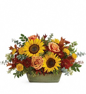 Teleflora's Sunflower Farm Centerpiece in Flint MI, Curtis Flower Shop