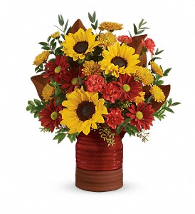 Teleflora's Sunshine Crock Bouquet in Meadville PA, Cobblestone Cottage and Gardens LLC