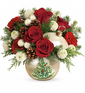 Teleflora's Twinkling Ornament Bouquet in Cocoa FL, A Basket Of Love Florist