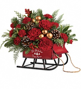 Teleflora's Vintage Sleigh Bouquet in Cocoa FL, A Basket Of Love Florist
