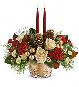 Teleflora's Winter Pines Centerpiece in Newburgh NY, Foti Flowers at Yuess Gardens