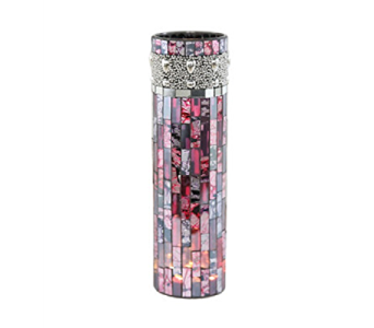 BEADED MOSAIC LED LIT VASE- PINK/PURPLE in Moline IL, K'nees Florists