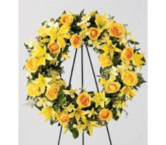 Yellow Sympathy Wreath in Columbus OH, OSUFLOWERS .COM