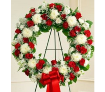 Red and White Smpathy Wreath in Columbus OH, OSUFLOWERS .COM