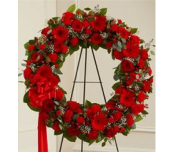 Red Sympathy Wreath in Columbus OH, OSUFLOWERS .COM