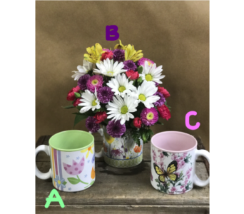 Garden Mug Bouquet in Edmonds WA, Dusty's Floral