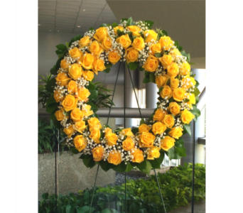 YELLOW ROSE OF TEXAS WREATH in Arlington VA, Twin Towers Florist