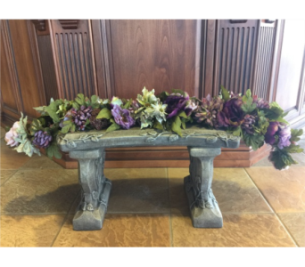 Cement Bench with Silk Garland in Sterling Heights MI, Sam's Florist