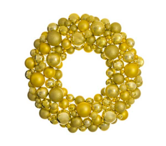 ALLSTATE FLORAL 30 inch, gold ball wreath  in Bellevue WA, CITY FLOWERS, INC.