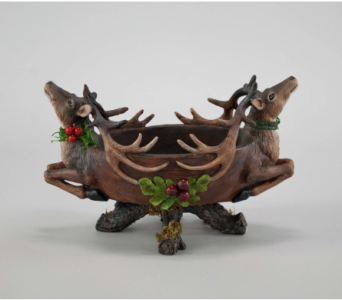 Katherine�s Collection Sculpted Deer Bowl in Bellevue WA, CITY FLOWERS, INC.