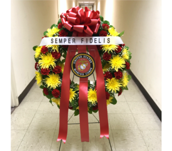 U.S. MARINE CORPS WREATH WITH PLACARD AND BANNER in Arlington VA, Twin Towers Florist