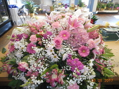 Pink & White Mixed Casket Spray in Middletown OH, Flowers by Nancy