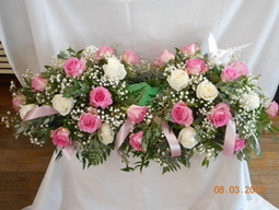 Pink & White Rose Urn Spray in Middletown OH, Flowers by Nancy