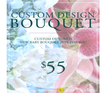 Custom Design New Baby Bouquet $55 in Indianapolis IN, George Thomas Florist