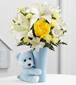 The Baby Boy Big Hug� Bouquet - VASE INCLUDED in Sapulpa OK, Neal & Jean's Flowers & Gifts, Inc.