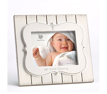 Little Blessing White Photo Frame in Tampa FL, Buds, Blooms & Beyond