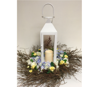White Manhattan Lantern with Huckleberry Wreath in Wyoming MI, Wyoming Stuyvesant Floral