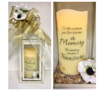 Anemone Gold Accented Lantern w/Memorial Candle in Wyoming MI, Wyoming Stuyvesant Floral