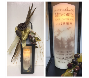 Pheasant Feathers and Pods Lantern with Memorial C in Wyoming MI, Wyoming Stuyvesant Floral