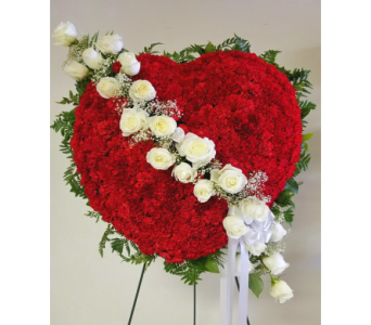 Bleeding Heart w/carnations & rose swag in Yonkers NY, Beautiful Blooms Florist