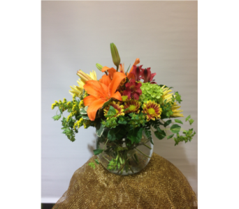 Fall Fishbowl in Manhasset NY, Town & Country Flowers