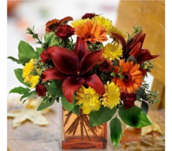 Custom Fall Cube  in Needham MA, Needham Florist